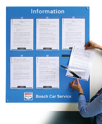 Bosch information point with 6 x A4 Posterfix document holders